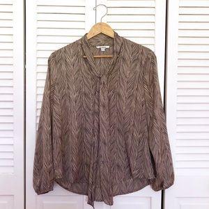BB Dakota Tie Neck Tan Feather Blouse Top